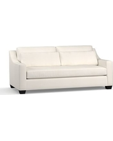"York Slope Arm Upholstered Deep Seat Sofa 80"" with Bench Cushion, Down Blend Wrapped Cushions, Denim Warm White"