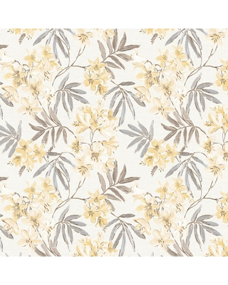 Norwall Linen Floral Wallpaper in Cream, Yellow & Greys, Yellow/Daffodil/Grey