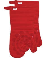"Red Medallion Silicone Oven Mitt 2 Pack (13""x13"") T-Fal"
