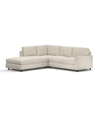 PB Comfort Square Arm Upholstered Right 3-Piece Bumper Sectional, Box Edge Down Blend Wrapped Cushions, Twill Cream