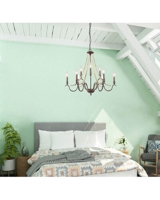 Melbeta 9 - Light Candle Style Classic Chandelier with Wood Accents