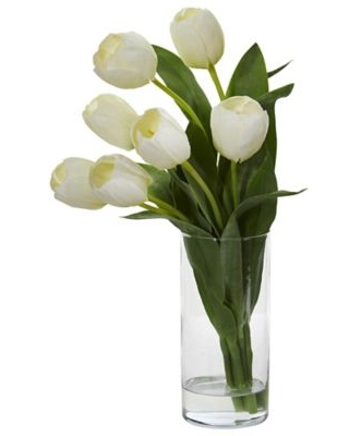 Nearly Natural 16-Inch Tulip Arrangement in Cylindrical Vase in White