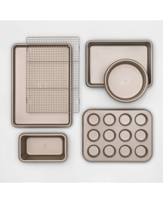 6pc Aluminized Steel Bakeware Set Gold - Made By Design