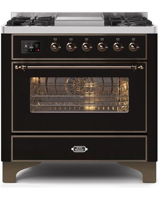 """UM09FDNS3BKB 36"""" Majestic II Series Dual Fuel Natural Gas Range with 6 Burners and Griddle 3.5 cu. ft. Oven Capacity TFT Oven Control Display"""