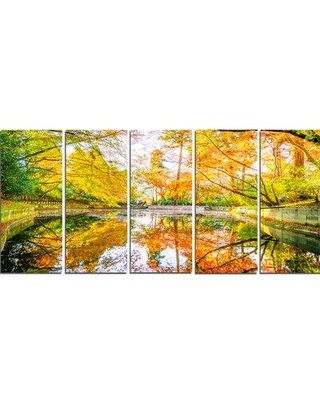 Design Art 'Bright Fall Forest with River' Photographic Print Multi-Piece Image on Canvas PT15429-401