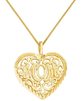 14k Yellow Gold Mother's Day Filigree Heart 'Mom' Pendant with Square Wheat Chain (22 Inch)