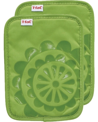 "2pk 6.75x""9"" Medallion Silicone Pot Holder Green - T-Fal"