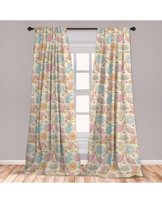 Ambesonne Tea Party Curtains, Hand Drawn Traditional Cake With Frosting And Dishes On Heart Filled Backdrop, Window Treatments 2 Panel Set For Living