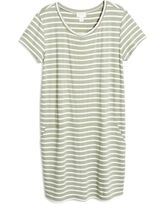 Caslon(R) Knit Shift Dress, Size Xx-Small in Green - Ivory Constanza Stripe at Nordstrom