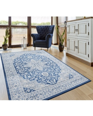 United Weavers Scarborough Ashland Oriental Denim Blue Woven Olefin Area Rug or Runner