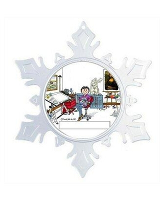 The Holiday Aisle® Personalized Friendly Folks Cartoon Snowflake Artist Painter Sculptor Christmas Holiday Shaped Ornament X111834424