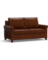 """Cameron Roll Arm Leather Loveseat 66"""", Polyester Wrapped Cushions, Leather Statesville Molasses"""