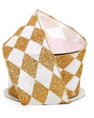 Gold and White Glitter Harlequin Print On Faux Linen Wired Ribbon 2.5 Inches Wide x 10 Yards