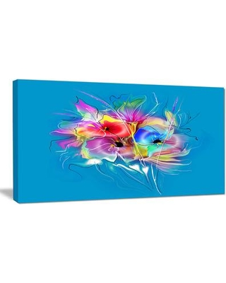 "DesignArt 'Summer Colorful Flowers on Blue' Graphic Art on Wrapped Canvas PT14984- Size: 16"" H x 32"" W x 1"" D"