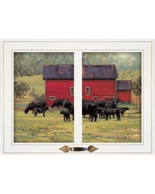 August Grove 'By the Red Barn Herd of Angus' Framed Photographic Print BI095047 Format: White Framed