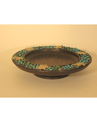 Decorative dish of wenge wood with Sterling leaves and turquoise beads