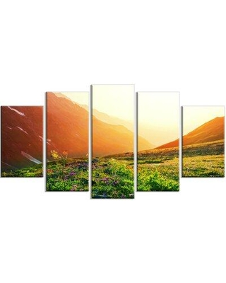 Design Art 'Beautiful Meadow on Sunny Day' 5 Piece Photographic Print on Wrapped Canvas Set, Canvas & Fabric in Green   Wayfair PT12274-373