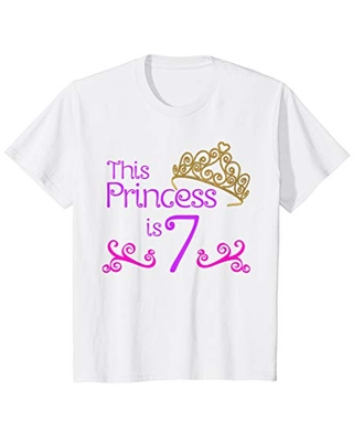 Kids 7th Birthday T-Shirt for 7 Year Old Girls