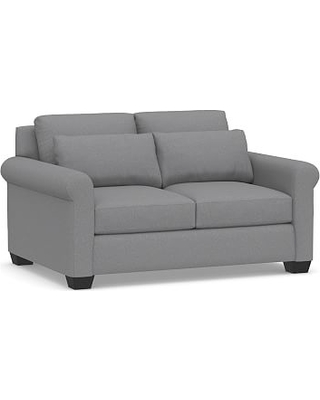 "York Deep Seat Roll Arm Upholstered Loveseat 64"", Down Blend Wrapped Cushions, Textured Twill Light Gray"