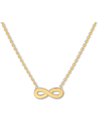 """Jared The Galleria Of Jewelry Infinity Necklace 14K Yellow Gold 16-18"""" Adjustable"""