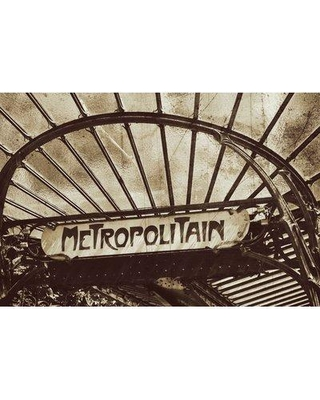 """Marmont Hill 'Paris Metro Sign 3' by Jody Stuart Painting Print on Wrapped Canvas MH-MWWJOD-44051-C- Size: 24"""" H x 36"""" W x 1.5"""" D"""