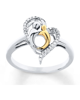 Mother & Child Ring 1/15 cttw Diamonds Sterling Silver/10K Gold