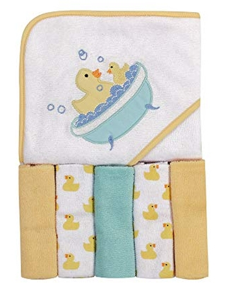 Luvable Friends Unisex Baby Hooded Towel with Five Washcloths, Pink Elephant, One Size