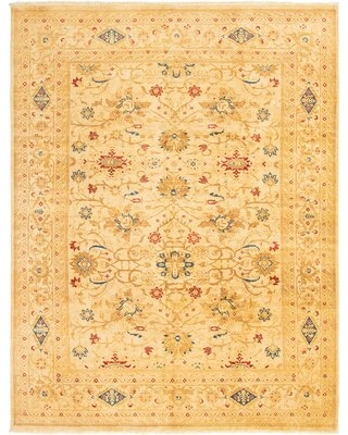 """One-of-a-Kind Hinz Hand-Knotted 2010s Chobi Ivory/Brown 9'1"""" x 11'10"""" Wool Area Rug"""