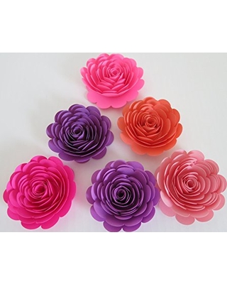Pink And Purple Paper Flowers Set Of 6 3 Roses Princess Theme