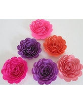 """Pink and Purple Paper Flowers, Set of 6, 3"""" Roses, Princess Theme Room Decor, Birthday Party Decorations, Nursery Wall Art, Girl Bedroom Accent, Baby Shower Centerpiece"""