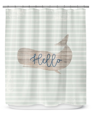 HELLO WHALE Shower Curtain By Catia Keck (70 x 90)