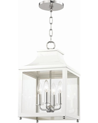 Mitzi by Hudson Valley Lighting Leigh 4-Light 11.5 in. W Polished Nickel/White Pendant with Clear Glass Panel