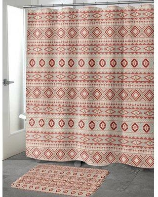 Loon Peak Cabarley Cotton Blend Shower Curtain LNPK7109 Color Red Tan Ivory Size
