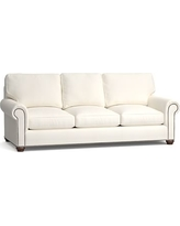 """Webster Roll Arm Upholstered Grand Sofa 95"""" with Bronze Nailheads, Down Blend Wrapped Cushions, Denim Warm White"""
