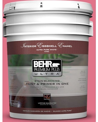 BEHR Premium Plus Ultra 5 gal. #120B-6 Watermelon Pink Eggshell Enamel Interior Paint and Primer in One