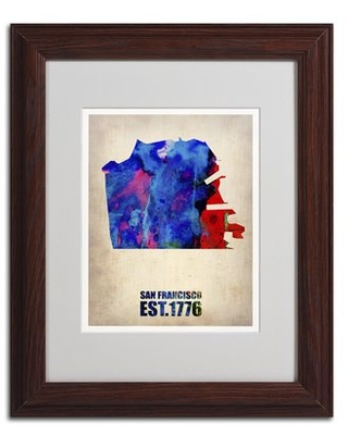 'San Francisco Watercolor Map' Framed Graphic Art Print on Canvas
