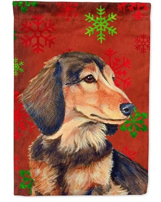 Dachshund Red Green Snowflake Holiday Christmas Flag Canvas House Size
