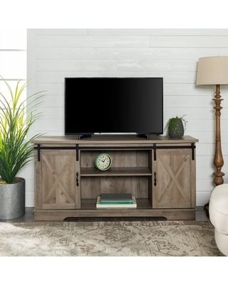 Walker Edison Furniture Company 58 in. Gray Wash Composite TV Stand 69 in. with Doors, Grey Wash