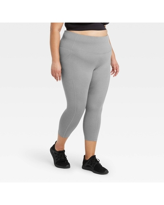 """Women's Plus Size High-Rise Sculpted Capri Leggings 21"""" - All in Motion Charcoal 1X, Grey"""