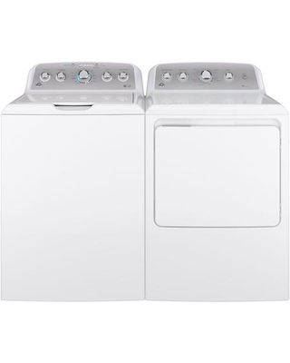 GE Top Load Speed Wash GTW500ASNWS 27 Washer with Front Load GTD45GASJWS 27 Gas Dryer Laundry Pair in White