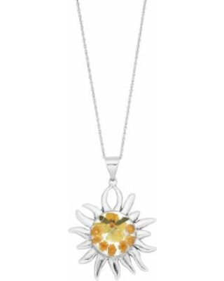 """Sterling Silver Pressed Flower Sun Pendant Necklace, Women's, Size: 18"""""