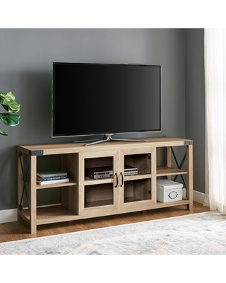 Welwick Designs 60 in. White Oak Composite TV Stand Fits TVs Up to 68 in. with Storage Doors