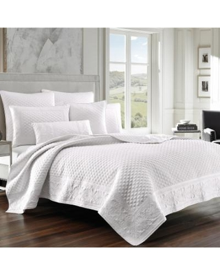 37 West Zarah Coverlet & Quilted Sham, White