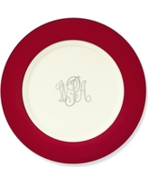 Pickard Color Sheen Charger Plate, Red Platinum Monogram
