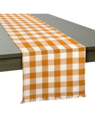 DII Check Heavyweight Fringed 108-Inch Table Runner in Pumpkin
