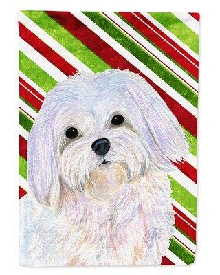 Caroline's Treasures Maltese Candy Cane Holiday Christmas 2-Sided Polyester 3'4 x 2'4 House Flag SS4551CHF