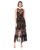Dress the Population Women's Gina Sleeveless Lace Illusion Fit & Flare Maxi Dress, Black Hummingbird, M