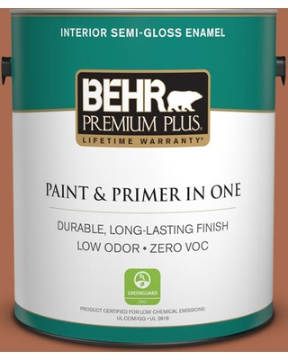 BEHR Premium Plus 1 gal. #BIC-45 Airbrushed Copper Semi-Gloss Enamel Low Odor Interior Paint and Primer in One