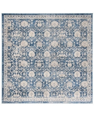 """SAFAVIEH Brentwood Flo Traditional Oriental Rug (6'7"""" x 6'7"""" Square - Navy/Creme)"""