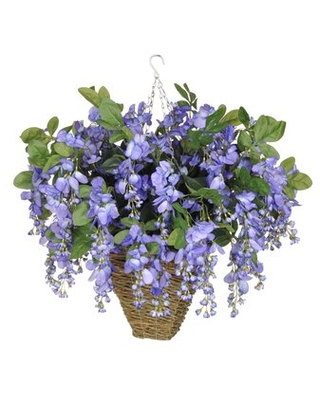Faux Wisteria Floral Arrangement in Square Planter Charlton Home Flower Color: Violet/Blue